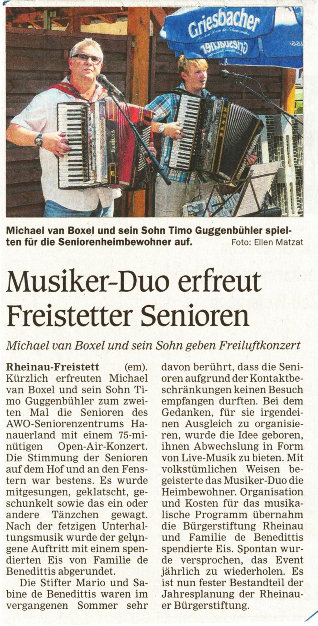 Konzert im Freistetter Seniorenzentrum